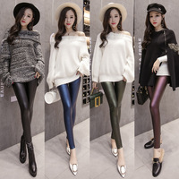 Winter Warm Leggings Thickening Bandage Skinny PU Leather Pencil Leggings Shaper Pants Female Fashion Thick High