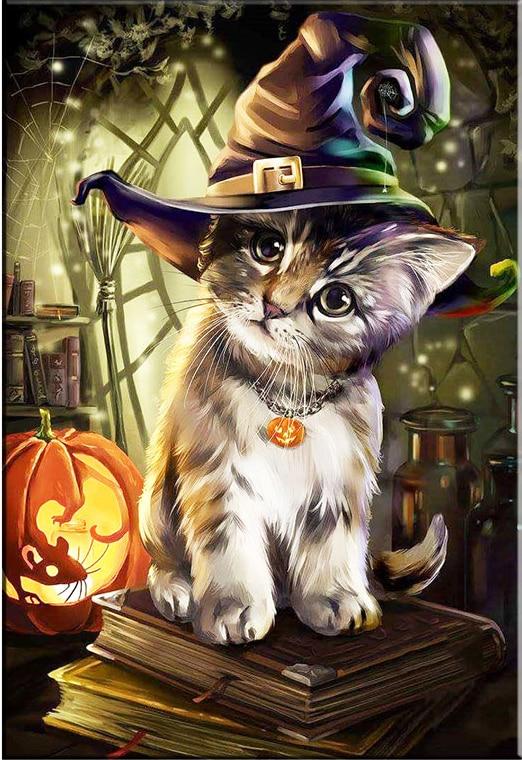 Вышивка кот в шляпе