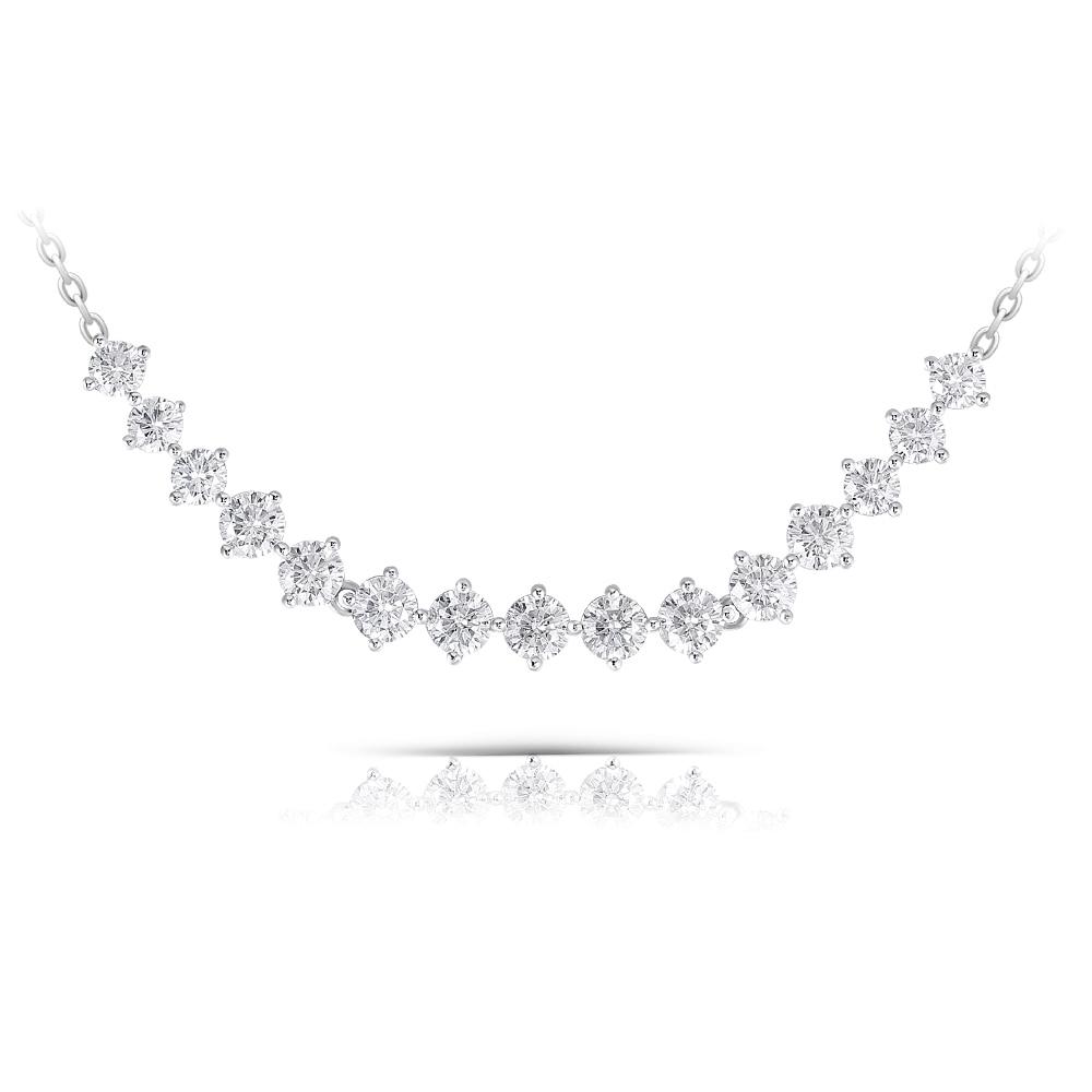 Elegant Sterling 925 Platinum Plated Silver 3ct 3.5mm-4mm-3.5mm H-I Color Moissanite Pendant Choker Necklace(3)