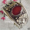 free P&P >>>>>Ethnic Carve Flower Tribal Brown JADE Unisex Tibet Silver Bangle Open Bracelet