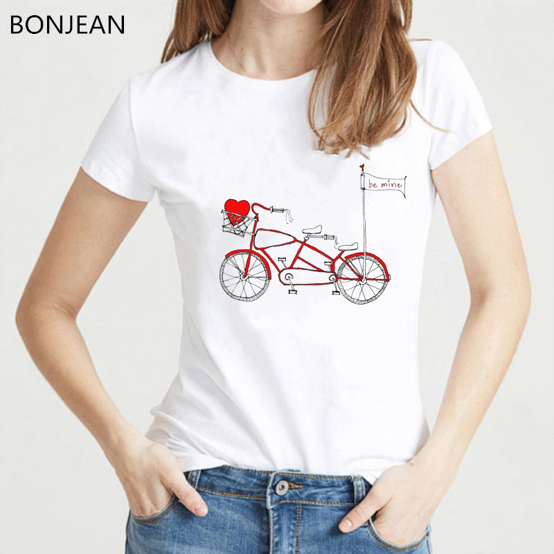 Hot Sale Women Funny T Shirts Love Bicycle Printed Tshirt Femme Valentines Day Gift For Girlfriend T Shirt Tumblr Female T-shirt