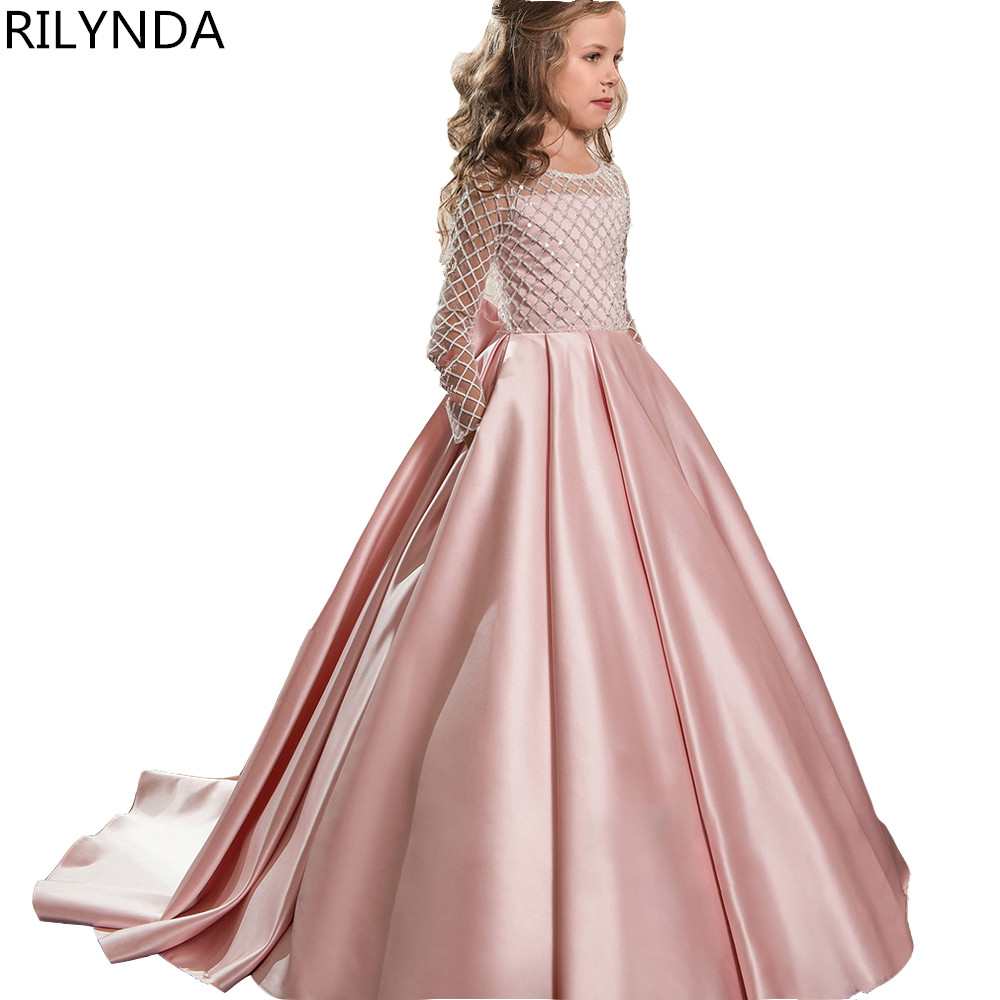 Lace Flower Girl Dresses for Weddings 2018 Pink Kids Evening Dress Holy Communion Dresses For Girls