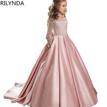 dafc51ae86cda6a Кружевные Платья с цветочным узором для девочек для свадеб 2018 розовый  детское вечернее платье Платья для причастия для девочек.