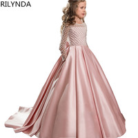 Lace Flower Girl Dresses for Weddings 2020 Pink Kids Evening Dress Holy Communion Dresses For Girls Pageant Gowns