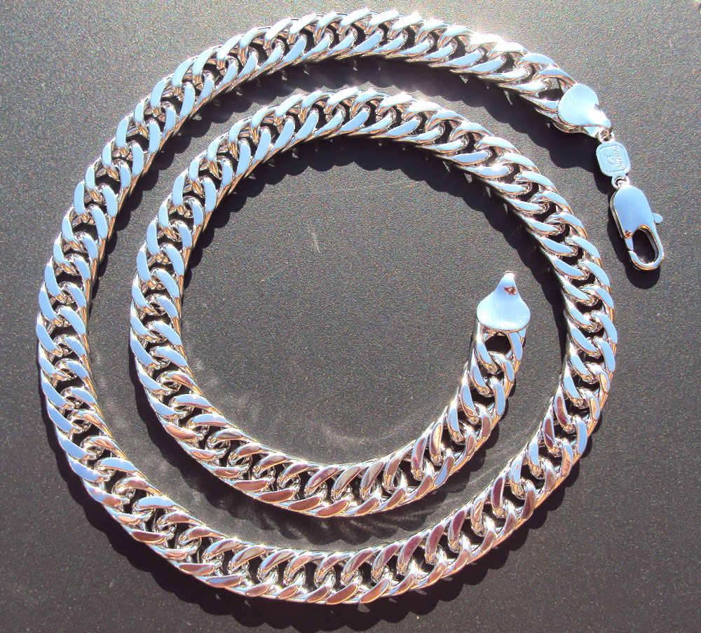Mens Miami Cuban Link Curb Chain 24 พันสีขาวทองเสร็จสิ้น Hip Hop 10 มิลลิเมตรหนา JayZ epacket จัดส่งฟรี