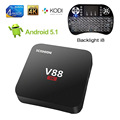 V88 Smart TV Box + i8 Teclado Retroiluminado Android 5.1 Rockchip RK3229 Quad Core 1G/8G 4 K H.265 WiFi 3D 1080 P XBMC KODI Reproductor Multimedia