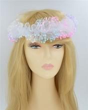 Elastic Headbands Three Flower Girl Hair Accessories Chiffon Head Piece Rose Floral Hair Bands wedding bride