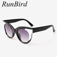 Cat eye sunglasses mujeres diseñador de la marca de gafas de los hombres de alta calidad gafas de sol oculos feminino gafas de moda cara redonda r533