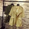 Turn-down Collar Trench Coat para Mulheres Plus Size 3XL 4XL Cintura Ajustável Casual Dragona Longo Trincheira Verde Amarelo QYL95