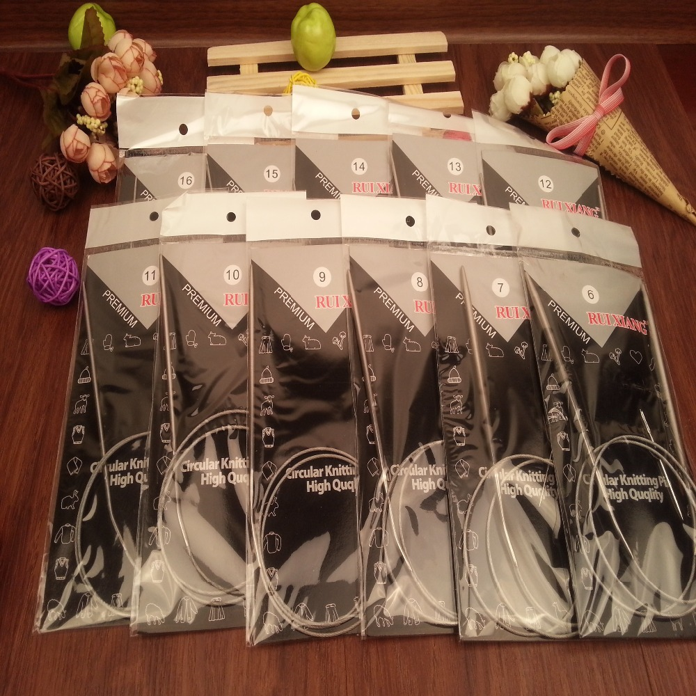 Free Shipping  Stainless Steel Circular Knitting Needles Set 11PCS/Set 43.65.80.100.120CM Size 6-16
