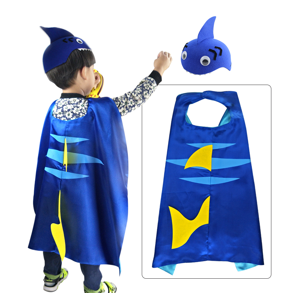 Special 70*70 Cm Child Shark Costume Hat Shark Animal Party Theme Kids Shark Costume For Birthday Party Capes Kids Gifts Toys