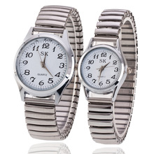 Lovers Watches 2018 Women Fashion Telescopic Adjustable Strap Stainless Steel Quartz Watch Men Casual Sports Relogio Hot