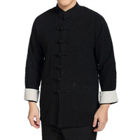 Burgundy Vintage Chinese Cotton Linen Casual Men Skirts Mandarin Collar Kung Fu Top High Quality Tai Chi Clothing M-4XL