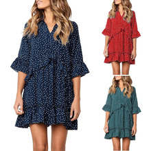 35823250edea JAYCOSIN Women V-Neck Flare Sleeve Cross Ruffles Polka Dot Print Swing Mini  Dress