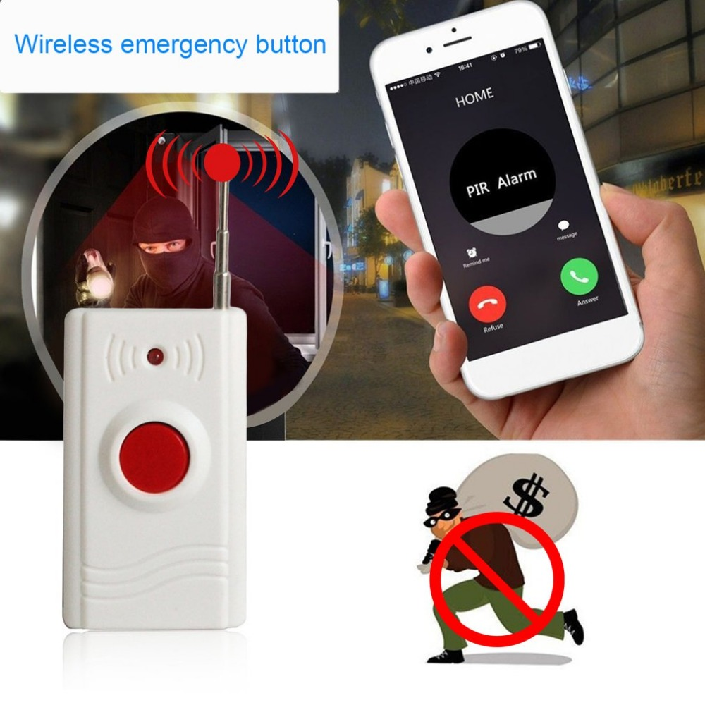 New One Key Emergency SOS Button Alarm Button 433MHZ Wireless Panic Button for Home Security Alarm System ...