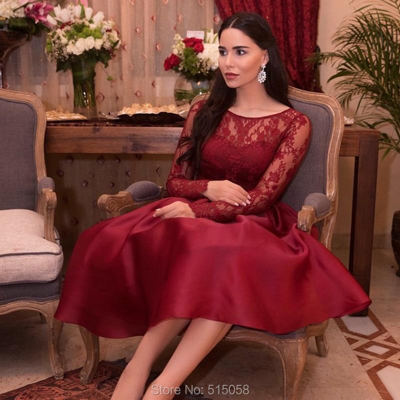 Elegant Long Sleeve Tea Length Wedding Dresses Simple: Elegant Lace Long Sleeves Wine Red Satin Evening Dresses