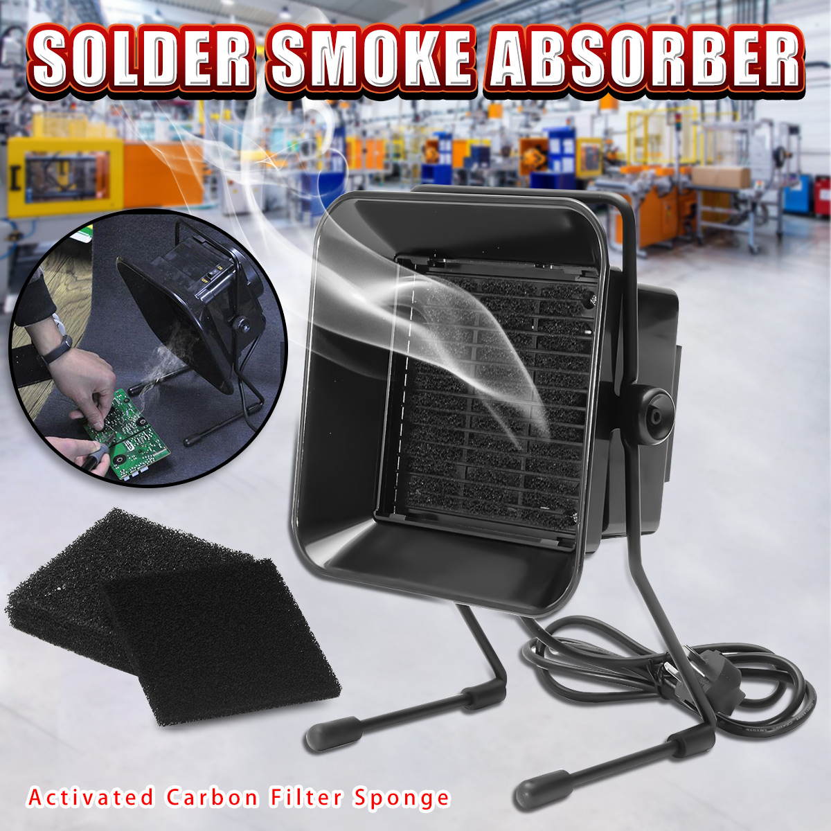 220V 16W Portable Solder Smoke Absorber ESD Fume Extractor for Soldering Iron Work Soldering Smoking Fan with Filter Sponge soldering iron exhaust fan bga soldering station repair tools solder smoke exhauster remover fume extractor with led lighting