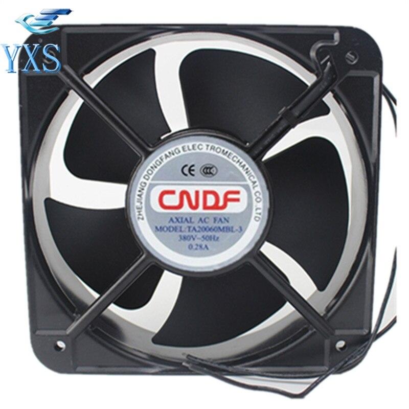 TA20060MBL-3 AC 380V 0.28A 50HZ 2 Wires 20060 20cm 200*200*60mm 2500RPM Cooling Fan g2260ha2bl square cooling fan ac 220v 0 32a 42w 20060 20cm 200 200 60mm 2 wires