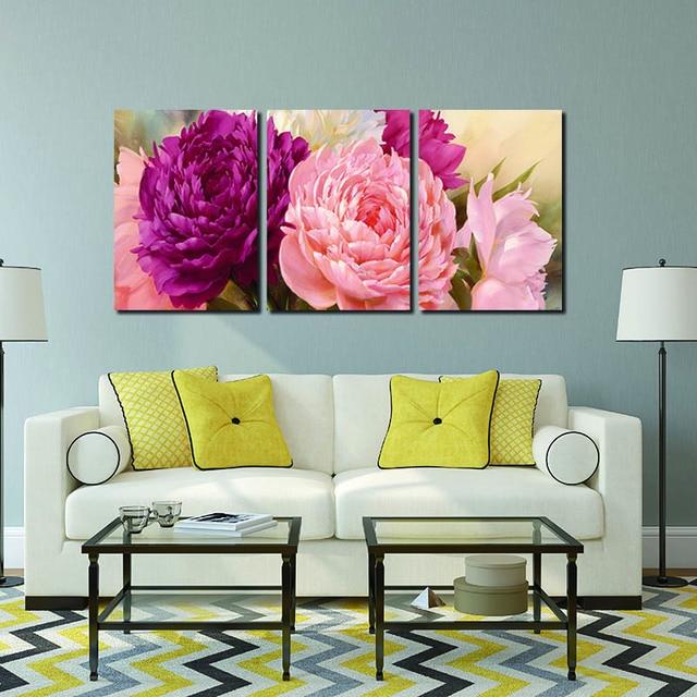 Фотографии Холст Картина Пион цветок настенная живопись искусство декоративной Холст Wall Art Модульная картина (некадрированный)