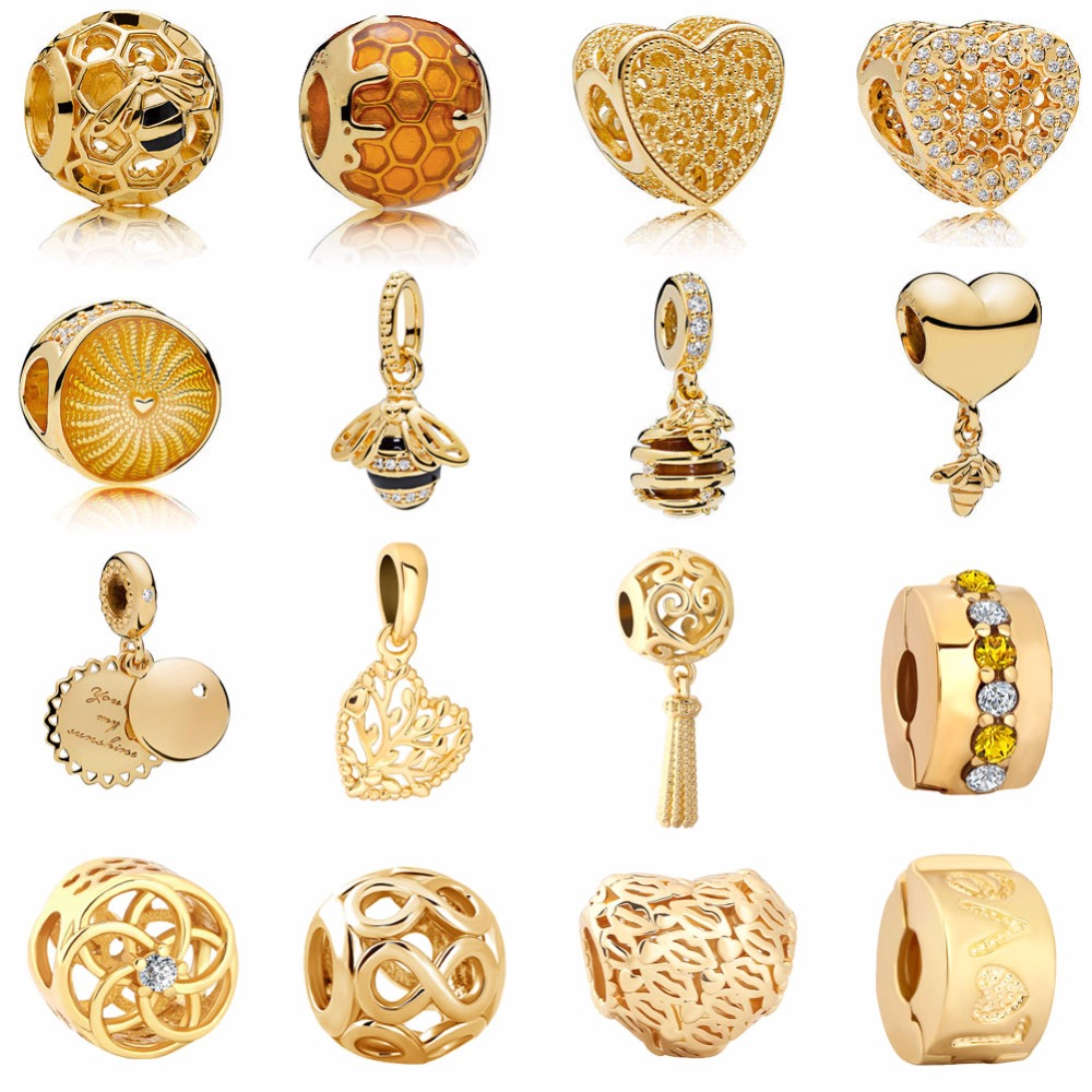 free shipping 2018 new golden heart&bee honey comb family tree infinity flower love clip&bead Fits Pandora Charm Bracelet mix051