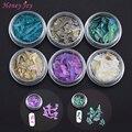 6 potes de Textura Bonita Concha Do Mar Natural Charme 3d Nail Art Decoração DIY Fatia Ferramentas de Salão de Beleza Do Prego Decalques