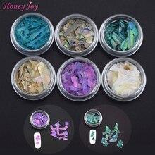6pots Beautiful Texture Natural Sea Shell 3d Charm Nail Art Decoration Slice DIY Beauty Salon Nail Decals Tools