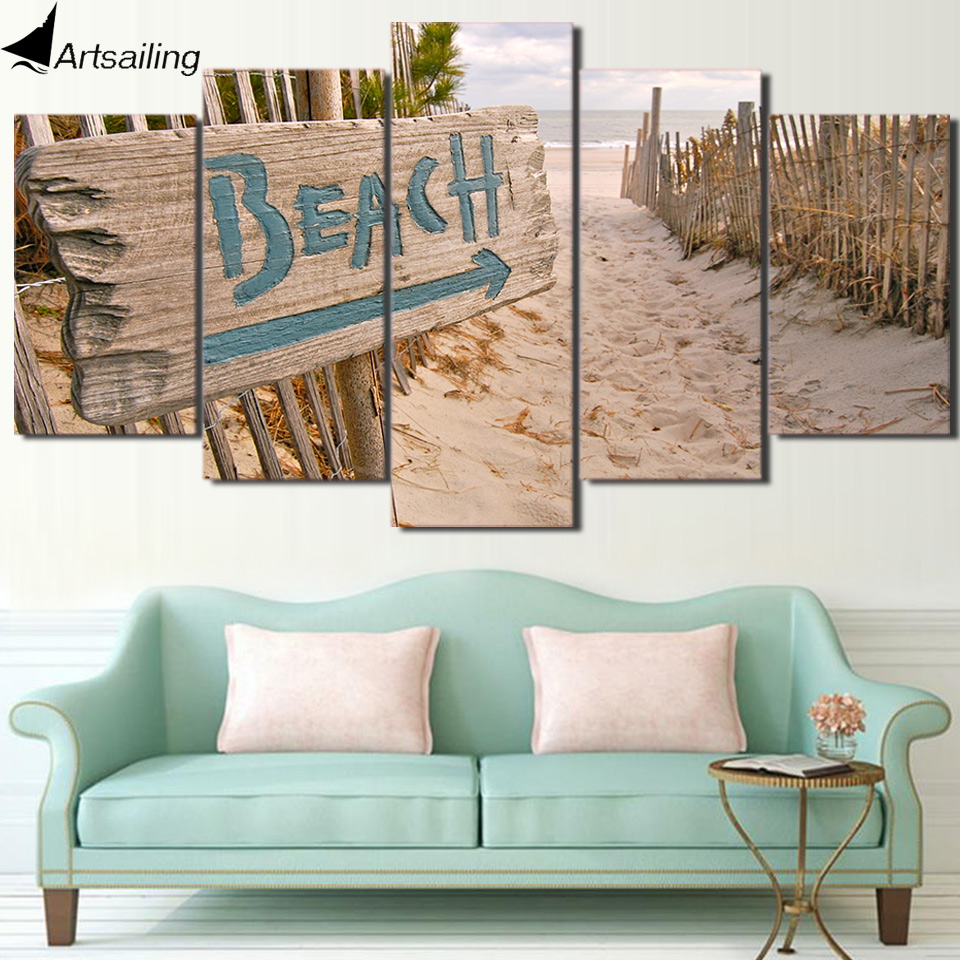 Wall Art Canvas Painting 5 Piece Hd Print Beach Fence