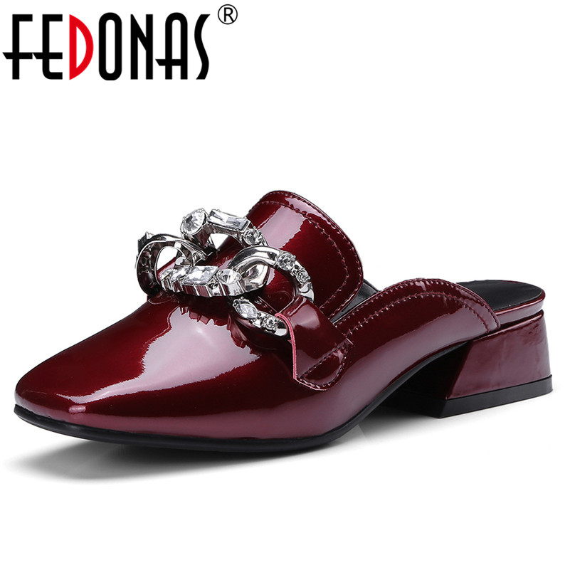 FEDONAS 1New Women Mules Pumps Genuine Leather Summer High Heels Shoes Woman Square Toe Rhinestone Party Wedding Brand Slippers bonjomarisa 2018 summer brand sexy women mules print patent leather pumps crystal high heels party wedding shoes woman