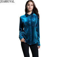 2017 New Winter Velvet Blouse Elegant Women Casual Long Sleeve Turn down Collar Shirt Plus Size Solid Color Tops Blusa Feminina