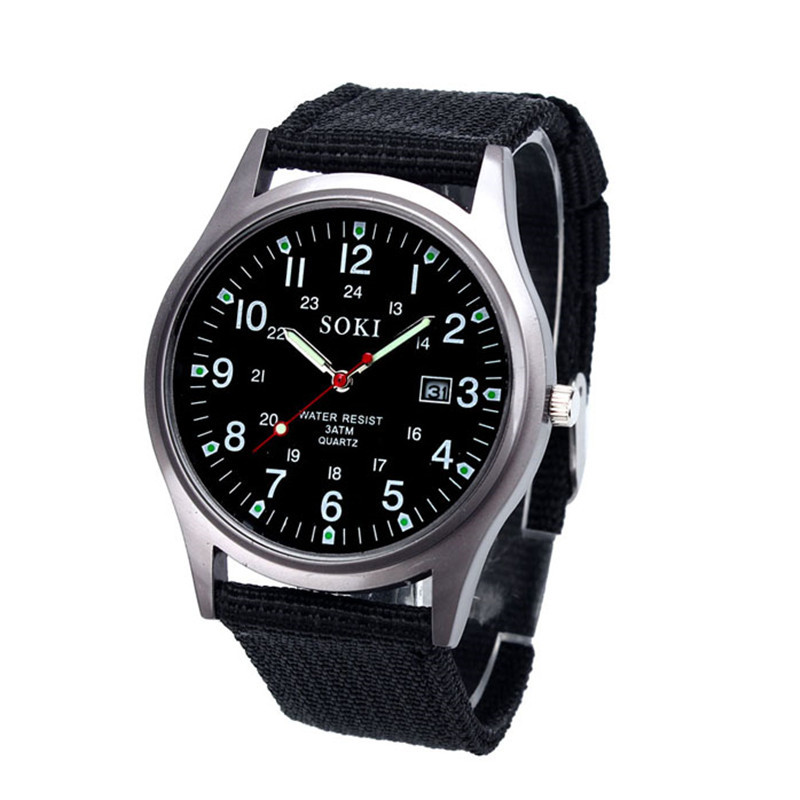 Fashion Military Classics Mens Watch Quartz Analog Canvas Band Casual Sports Watch Watches Mens Watches Top Brand Luxury New