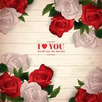 3D Red Rose Fiore Amore Bianco Naturale Legno Duro panno di sfondo foto di Vinile Computer stampato muro Sfondo di Alta qualità