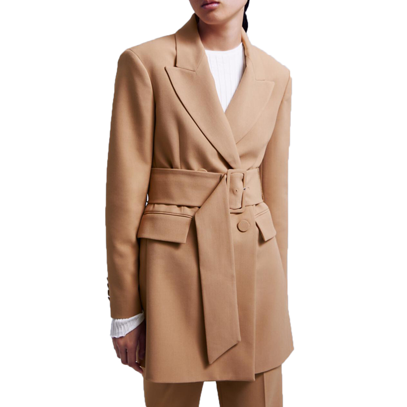 Spring 2019 casual khaki womens clothing long blazer women long sleeve coat women lace up blazer femme