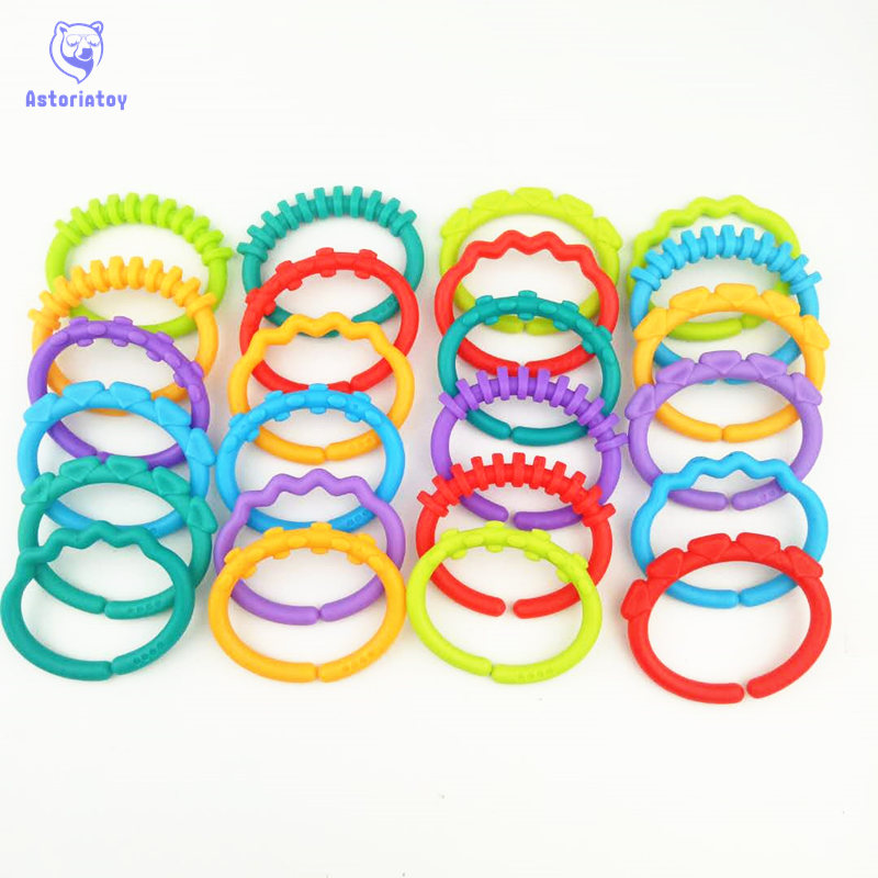 24Pcs/1lot  Baby Teether Toys Baby Rattle Colorful Rainbow Rings Crib Bed Stroller Hanging Decoration Educational Toys For Kids