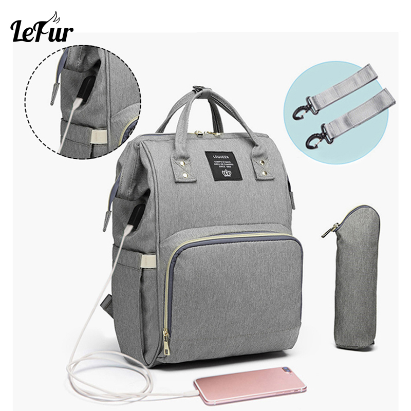 Lefur Diaper Bag Women Mummy Baby Care Nappy Bag Large Capacity Waterproof Backpack Travel Bag Mom Backpack Baby Care