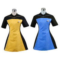 Dress The Next Generation Women's Skant Uniform Costume Star Trek Yellow Dress With Badge Free Halloween Party