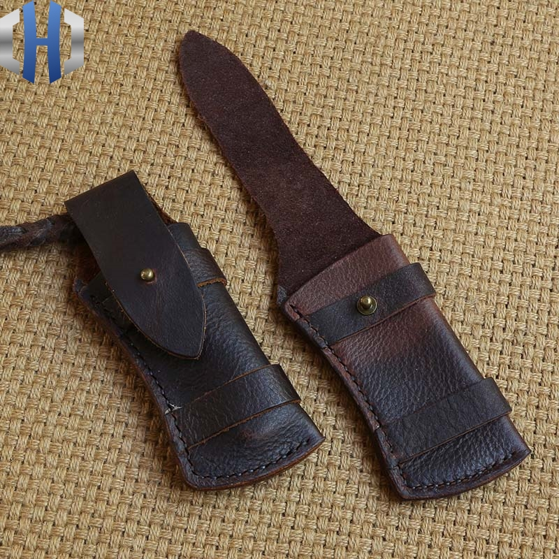 Leather cowhide knife pocket knives leather scabbard leather sheath