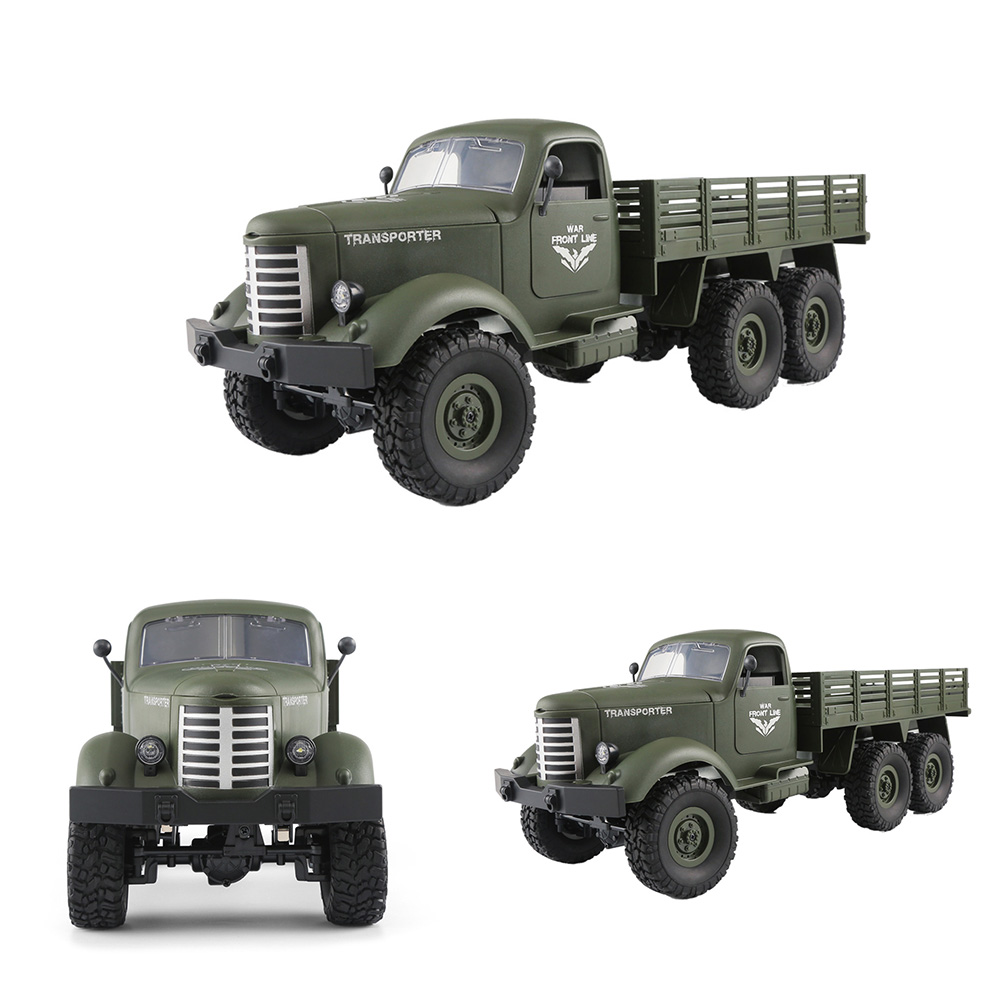 RC Car1/16 Dazzling Rock Crawlers 6x6 Wheels 2.4G Remote Control Off-Road Military Driving Truck Model Children Vehicle Cool Toy willys jeep 1 10