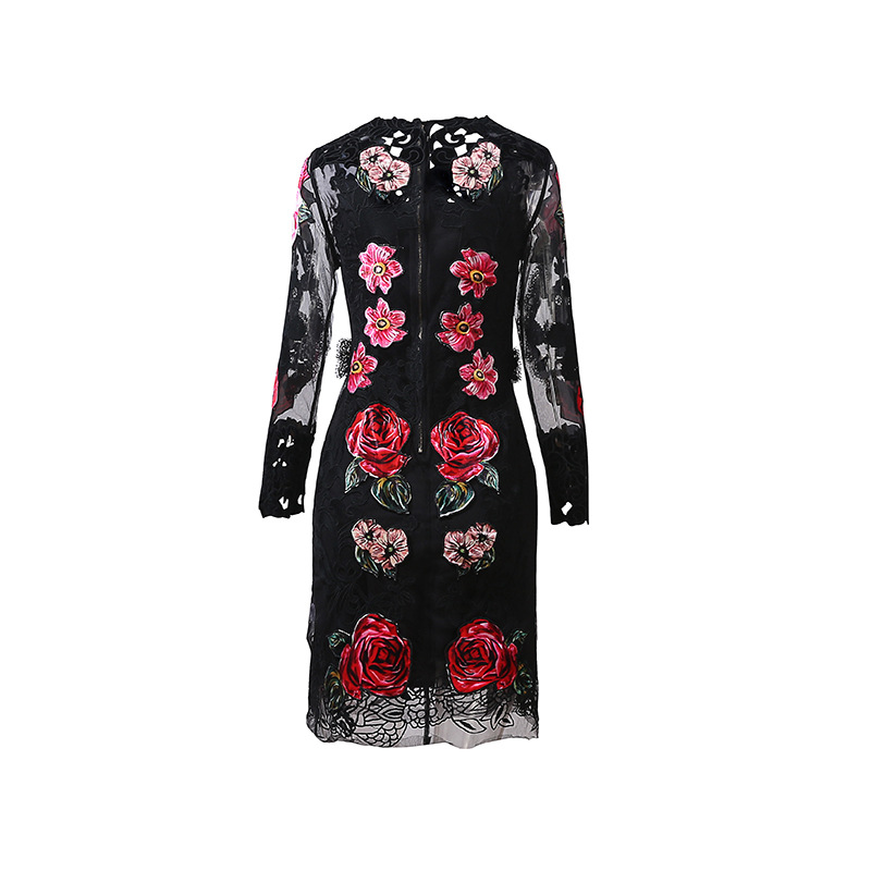 Floral Robe Parti À Élégant De Automne Noir Longues Qyfcioufu Évider Manches Mode Broderie Femmes Nouvelle 2018 Piste wa8qHOX