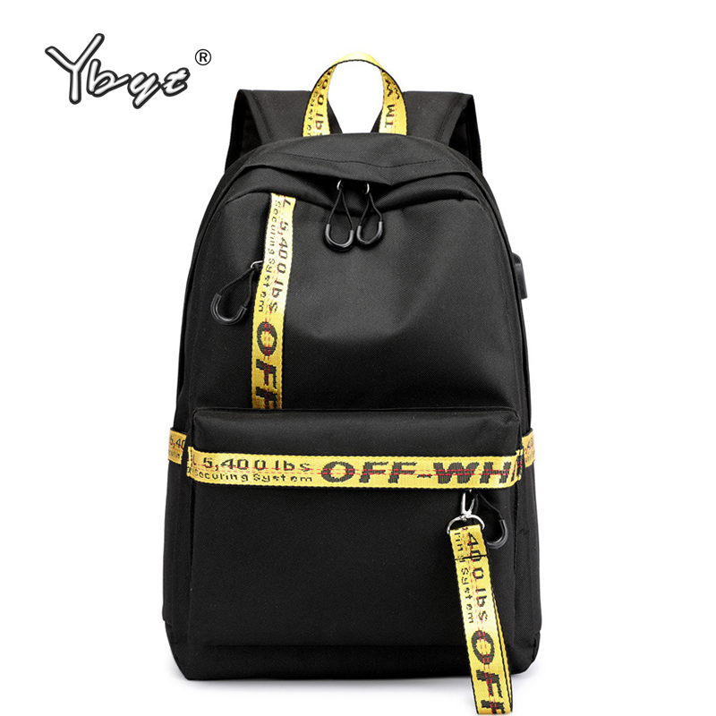 Image 1 - casual preppy style women backpack large capacity letter panelled student school backpacks USB Charging Backpack Laptop Backpack-in Backpacks from Luggage & Bags
