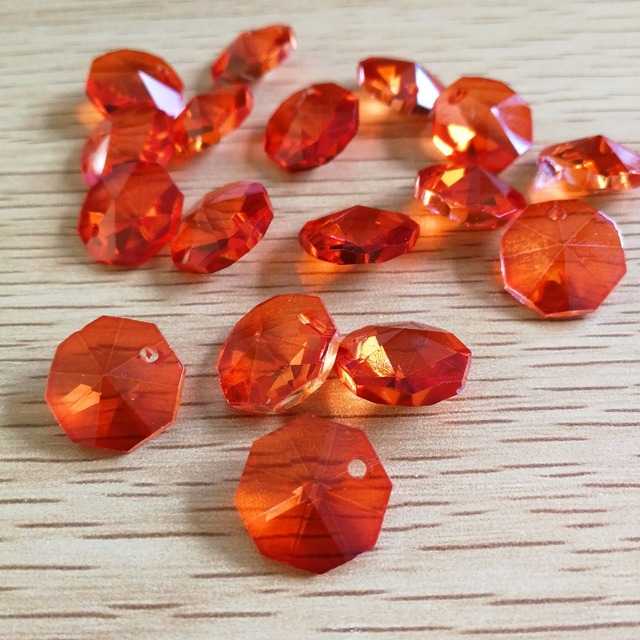 1000pcs 14mm orange color octagonal baeds in one hole glasses 1000pcs 14mm orange color octagonal baeds in one hole glasses chandelier crystal lamp beads chain prisms aloadofball Choice Image