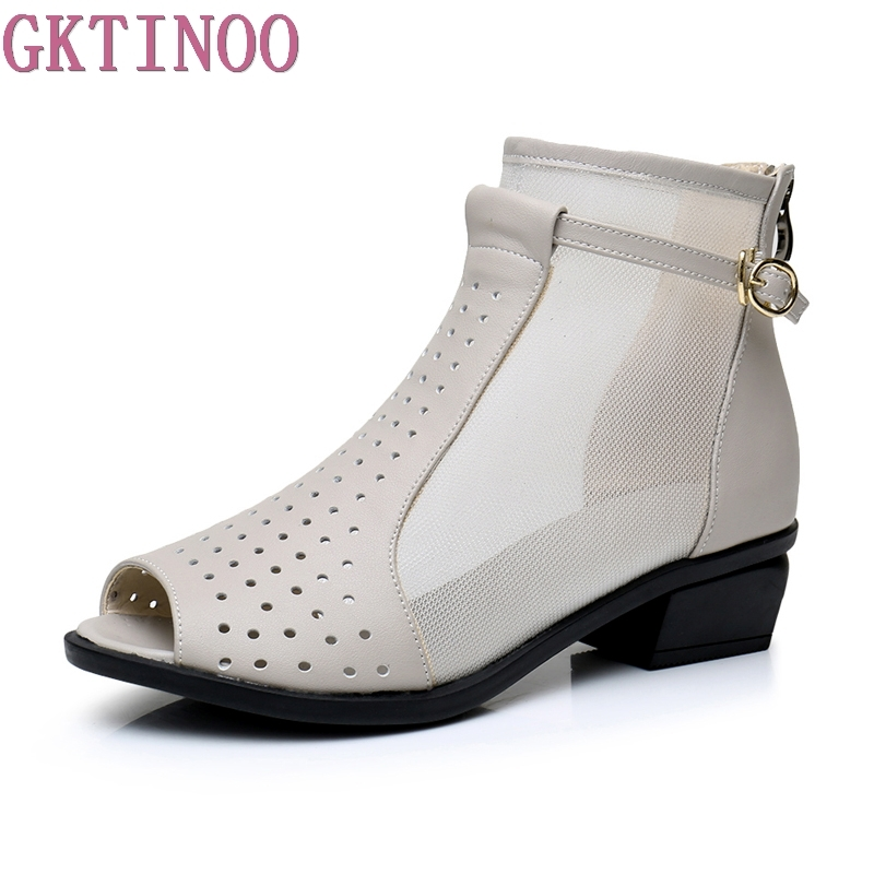 GKTINOO Genuine Leather New Summer Ankle Boots For Women Fashion Cut-Outs Mesh Zip Sandals Ladies Peep Toe Med Heels Shoes Woman 2018 summer new genuine leather women slippers sexy cut outs high heels shoes fashion slides natural leather sandals for women