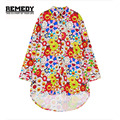 REMEDY 2016 Women Tops Fashion Irregularity Long Sleeve Blusas Harajuku Brand Spring Colourful Sunflower Loose Blouse Plus Size