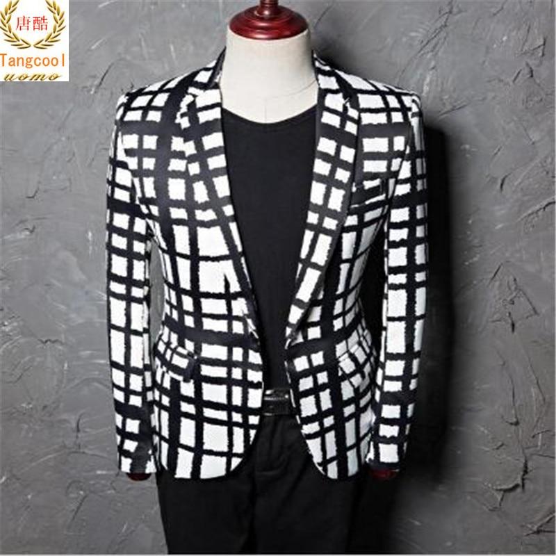 Hombre Ocio Fit Blanco And Slim 2018 Plaid White Diseños Fresco Hombres  Blazer Tang Traje Negro Latt Chaqueta ... a7ce9c011f1