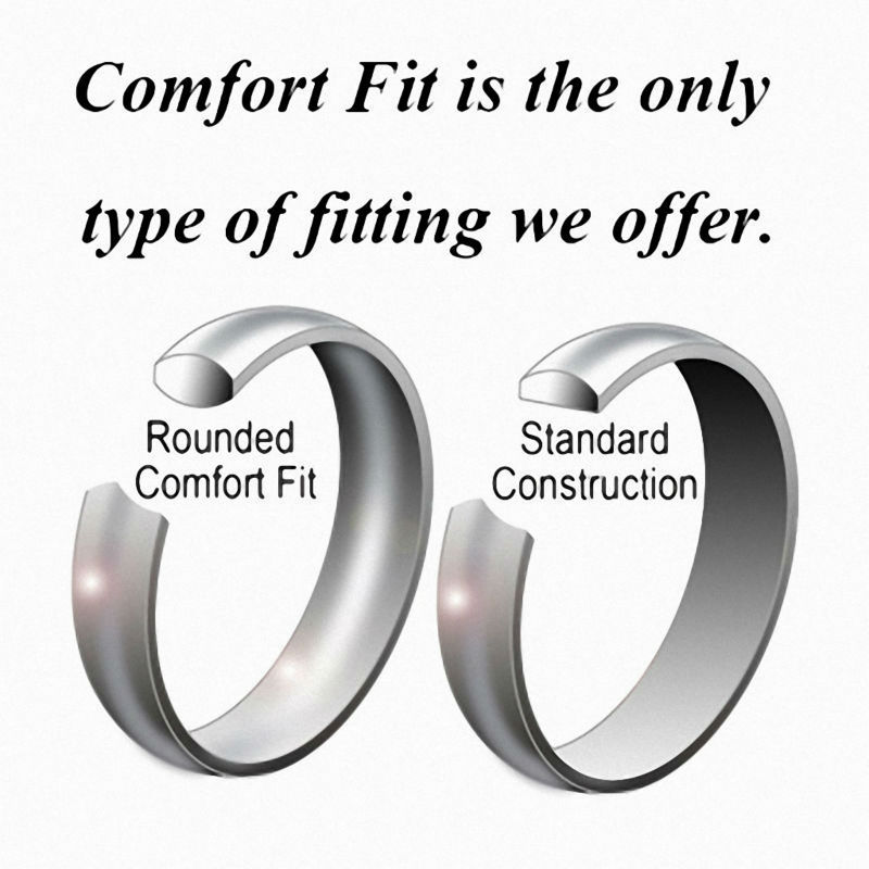 8mm Black Silver Dome Tungsten Carbide Ring Mens Wedding Bands