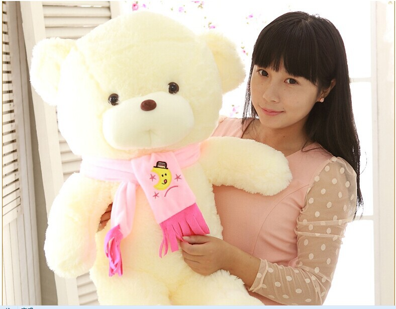 big lovely teddy bear toy pink scarf bear toy creative bear toy gift doll about 80cm 0144 new creative plush bear toy cute lying bow teddy bear doll gift about 50cm