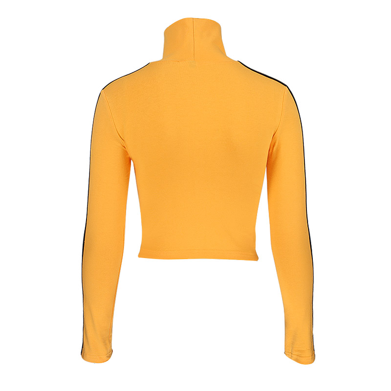 InstaHot 2018 Fashion Quentin Tarantino Sexy Crop Tops Women Side Stripe Long Sleeve Turtleneck Cotton Knitted