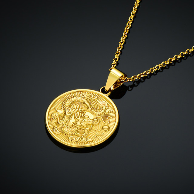 Online shop wholesale vintage gold color round chinese ethnic wholesale vintage gold color round chinese ethnic zodiac dragon pendant necklace jewelry x647 mozeypictures Image collections