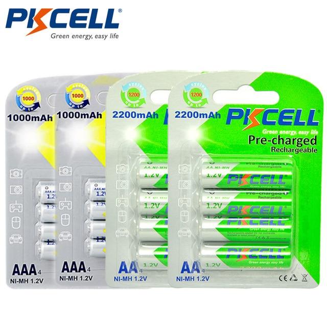 PKCELL pilas recargables AA de 1,2 V Ni MH, 2 unidades, 2200 V, 1,2 mAh, 1000mAh