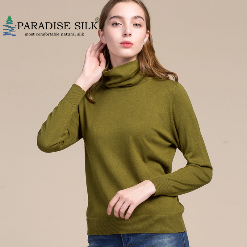 Women Pullovers 85 Silk 15 Cashmere Knitted Turtleneck Winter Bottoming Knit Shirt Long Sleeves Top Size