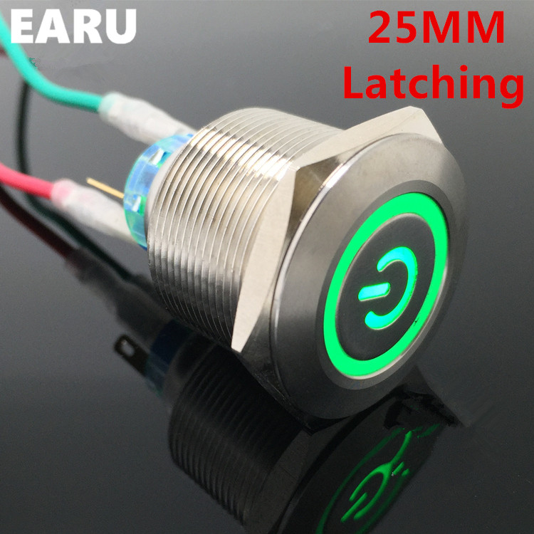 1pc 6Pin 25mm Metal Stainless Steel Latching Doorebll Bell Horn LED Push Button Switch Car Auto Engine Start PC Power Symbol 1pc 6pin 25mm metal stainless steel momentary doorebll bell horn led push button switch car auto engine start pc power symbol